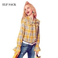 ELF SACK Vintage Autumn Newest Women Plaid Blouses British Style Flare Sleeve Womens Blouse Neckline with Tie Loose Elegant Top