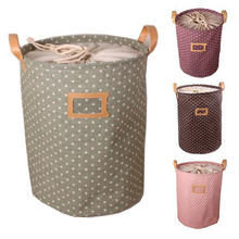 High Quality ! 3 Sizes S /M/ L Zakka Handle Stackable Dots Linen / canvas Storage Buckets Laundry Bags Pink/ Brown/ Green/Purple комплект travelite city green s m l 80