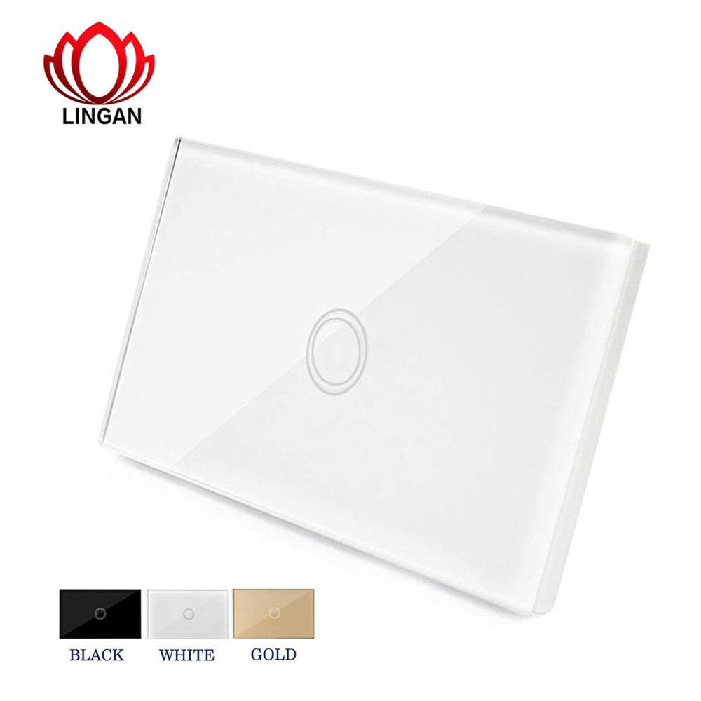 Wall Light Touch Switch Panel US On/Off Sensor One Gang One Way Waterproof 240V Controller Switch Plate wireless wall touch switch control light panel eu sensor wifi on off 3 gang rf433 240v smart controller