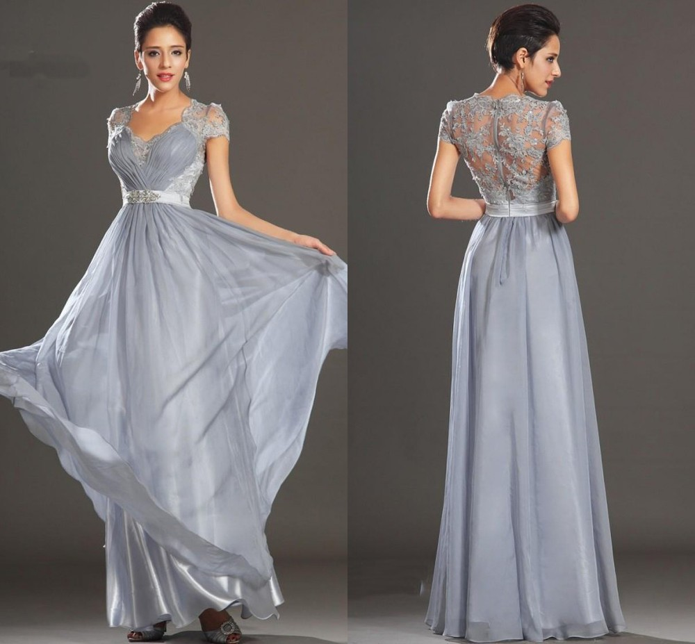 Elegant Silver Grey Ruched A-line V-neck Floor Length Cap Sleeve Chiffon Lace Evening Dresses Prom Party Gown 2014 - wedding dress store