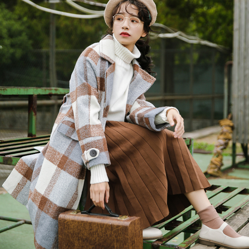 Ailegogo New Autumn Women Cashmere Trench Jacket Casual Plaid Turn-down Collar Long Coat Thickness Warm Button Pocket Jackets