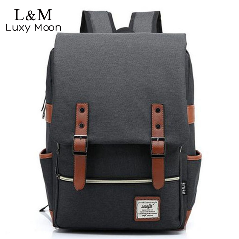 Men Laptop Backpack Canvas Backpacks Large Students School Bags Computer Notebook Bag Book Packs Travel Rucksack mochila XA411H men canvas 15 inch notebook backpack multi function travel daypack computer laptop bag male vintage school bags retro knapsack