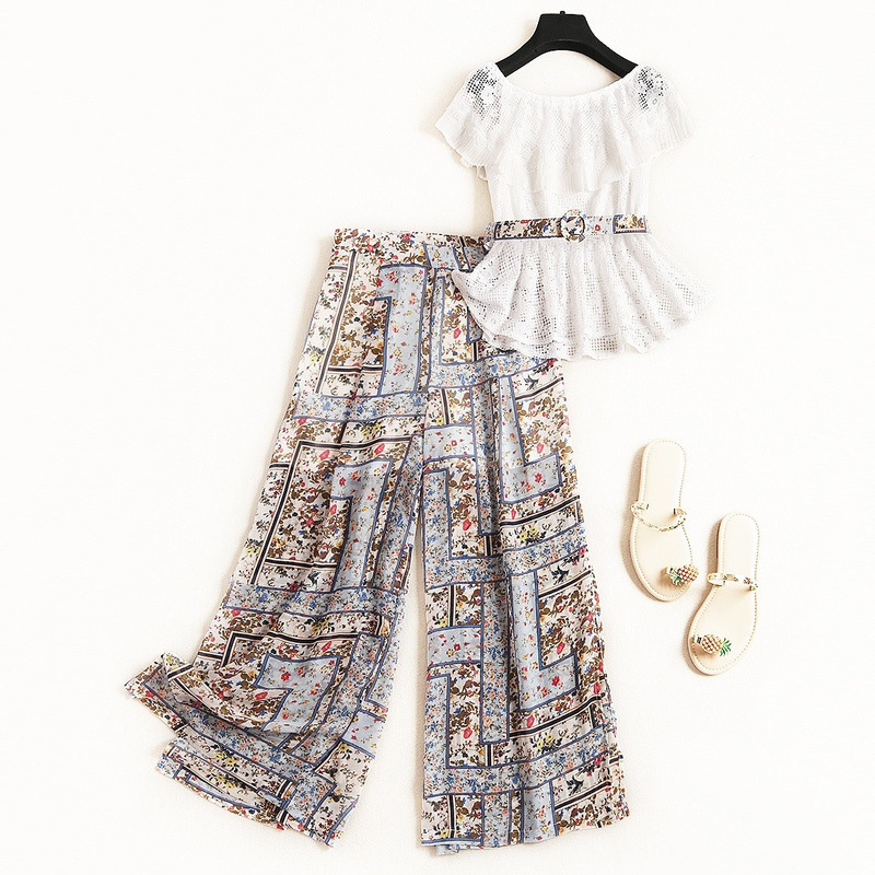 Summer Fashion Lace Shirt Crop Top Chiffon Printed Wide Leg Pants Plus Size 2 Piece Set
