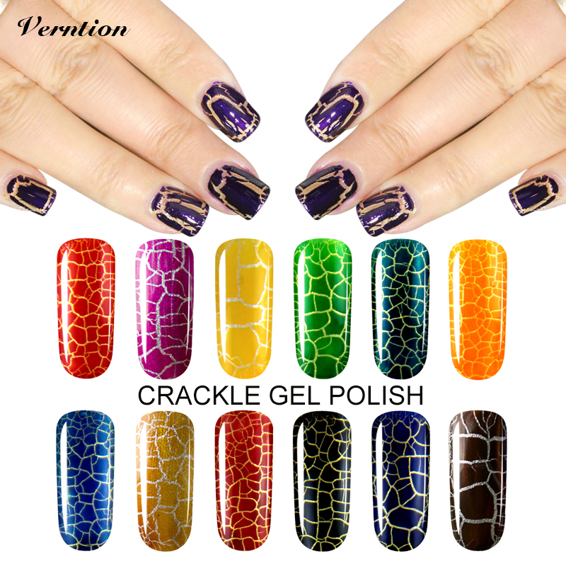 Verntion 12 Colorful Lucky Gel Nails Polish Pigment Crack