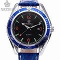 Sea Blue Men's Watches Luxury Brand Leather Strap Quartz Sports Watch Men Waterproof Calendar High Quality Fashion Wristwatch