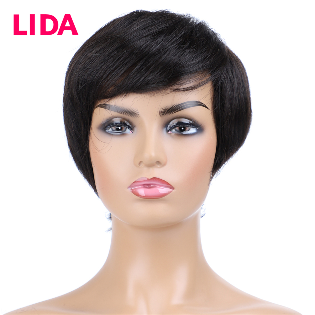 LIDA Non-Remy Indian Straight Short Human Hair Wigs For Women 150% Density Full Machine Made 6 Inch Short Wig