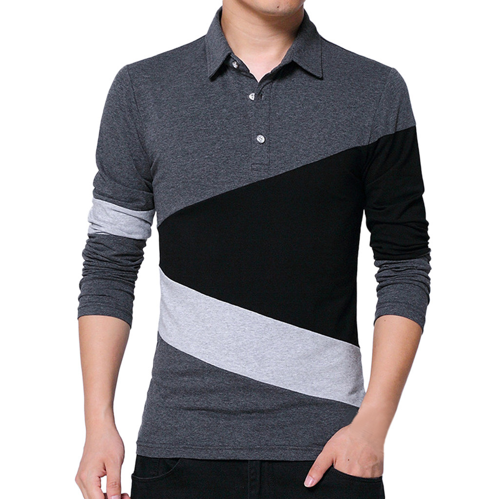 7a6ba9f4c94 JAYCOSIN Spring and autumn long-sleeved T-shirt men s new thin section loose  collar cotton men s lapel personality