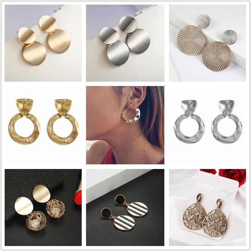 F5 Luxury Gold Metal Drop Earrings 2018 Women Fashionable Big Trendy Earrings Party Street Jewelry Personality Dangle Earrings