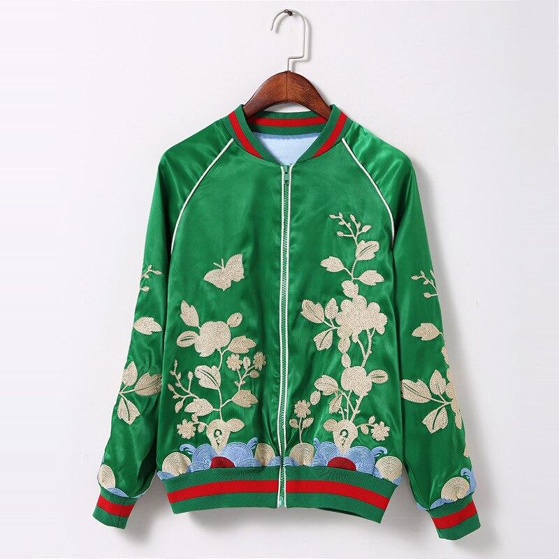 2016 New Arrived Women Casual Long Sleeve Green Full Zip Up Flower Embroidery Bomber baseball brand Jaqueta Jas Jacket Coat