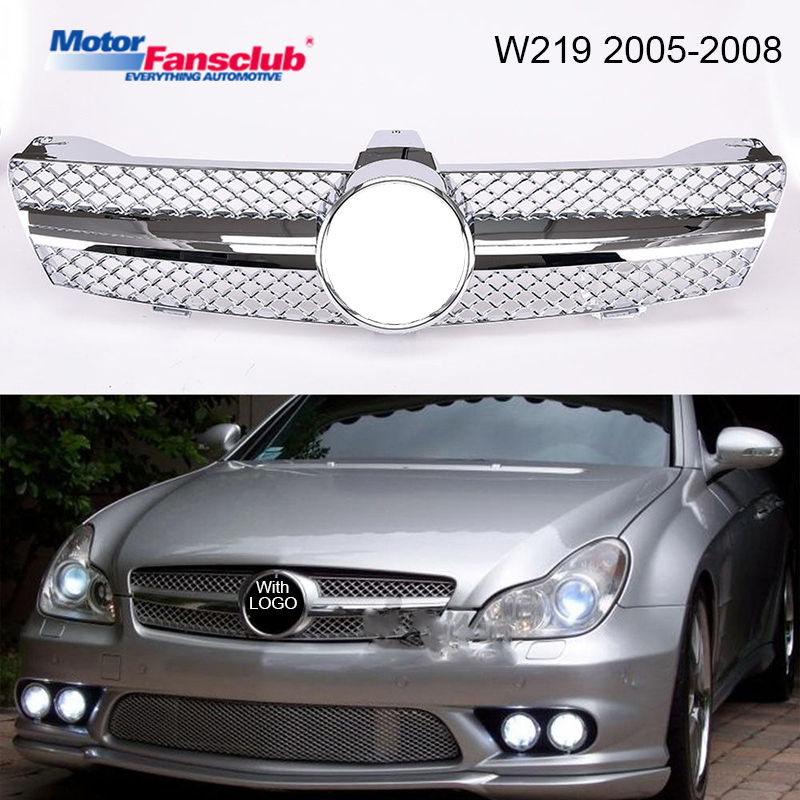 Car Racing Grille For Mercedes Benz W219 Grill CLS500 SLS600 2005-2008 Emblems Mesh Radiator Chrome Front Bumper Modify Parts matte gloss black car racing grille for mercedes w204 grill 2008 2014 c300 c180 amg emblems mesh radiator front bumper modify