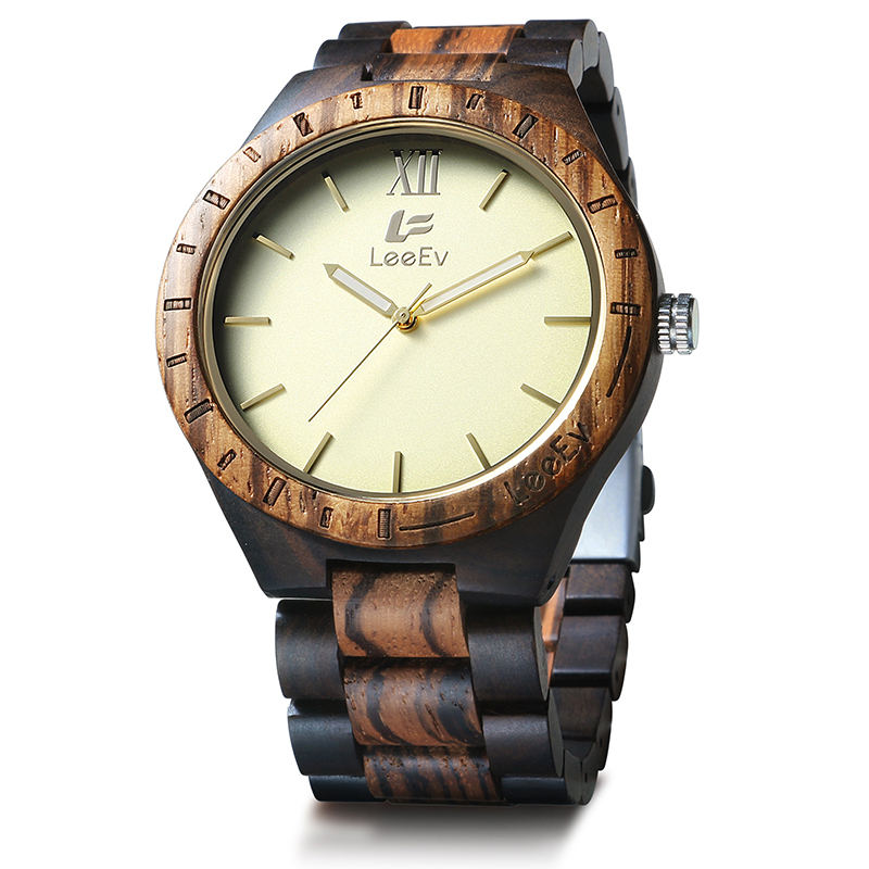 LeeEv Brand NEW Fashion Zebra Black Mixed Wooden Watches Luxury Japan Movement Wood Wristwatch Relogio Masculino Feminino Watch ultra luxury 2 3 5 modes german motor watch winder white color wooden black pu leater inside automatic watch winder