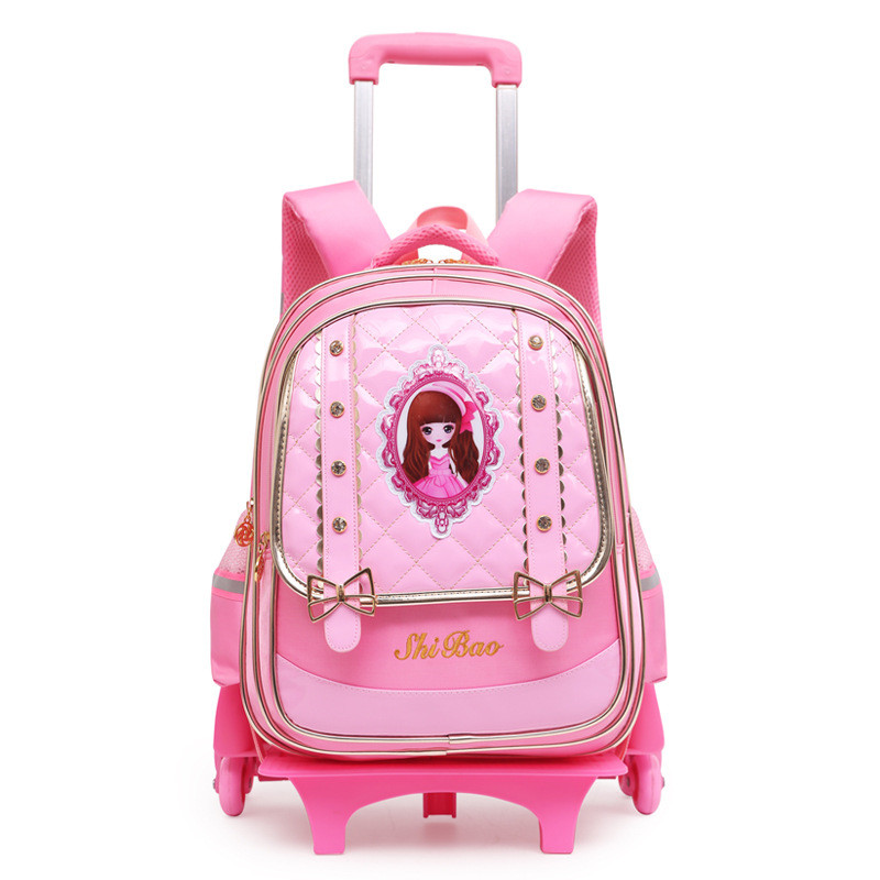 Removable Children School Bags 2 Wheels and 6 Wheels Stairs Kids girls Cute Trolley backpack Luggage Book Bags travel Bookbag children trolley school bags removable backpack waterproof travel luggage bag with 6 wheels rolling for girls can climb stairs