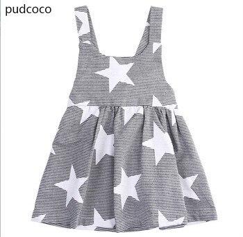 d5b3ed034 Niño niños niña ropa verano sin mangas estrella de cinco puntas de rayas  Vestidos geométrica backless party Pageant Princess Vestidos