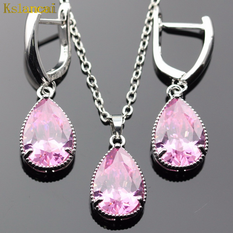 Lan High Quality Choker Silver-Planted Jewelry Sets AAA Zircon Pink Necklace&Pendant Earring For Wedding Free Shipping ...