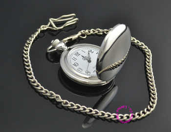 wholesale new fashion silver quartz men pocket watch man arabic roman number fob watches smooth surface hour gift dual display - DISCOUNT ITEM  5% OFF All Category