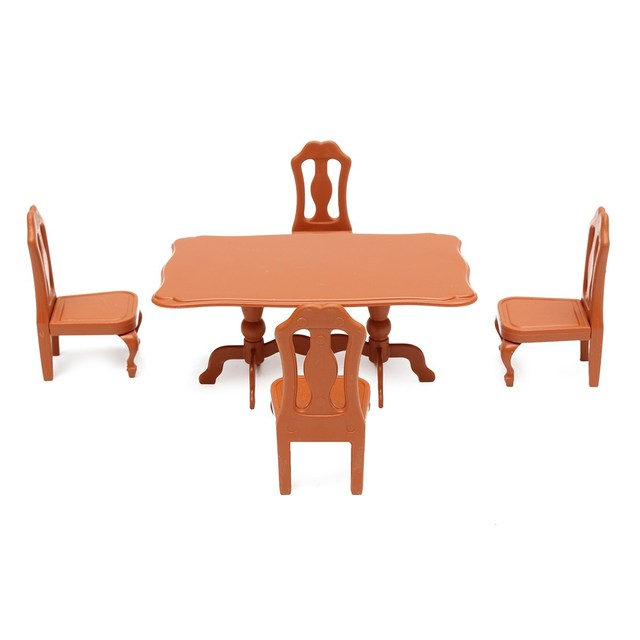 DIY Plastic Dining Table and Chairs 5 pcs Set For Mini Doll House