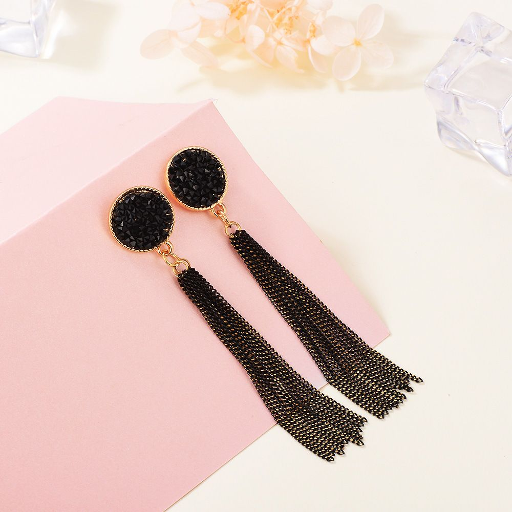 Gothic Black Beaded Mesh Chain Link Dangles Game of Thrones Zoom Party Boho Gypsy Chandelier Statement Earrings