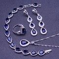 Azul Criado Sapphire Branco Topaz 925 Sterling Silver Conjuntos de Jóias Para As Mulheres Brincos/Pingente/Colar/Anéis/pulseira de Caixa Livre