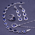 Blue Created Sapphire White Topaz 925 Sterling Silver Jewelry Sets For Women Earrings/Pendant/Necklace/Rings/Bracelet Free Box