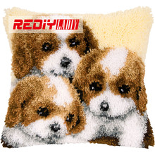 REDIY Latch Hook Cushion Kits for Embroidery Pre-printed Color Canvas Three Puppies Sofa Home Decor Unfinished Pillow Case BZ877(China)