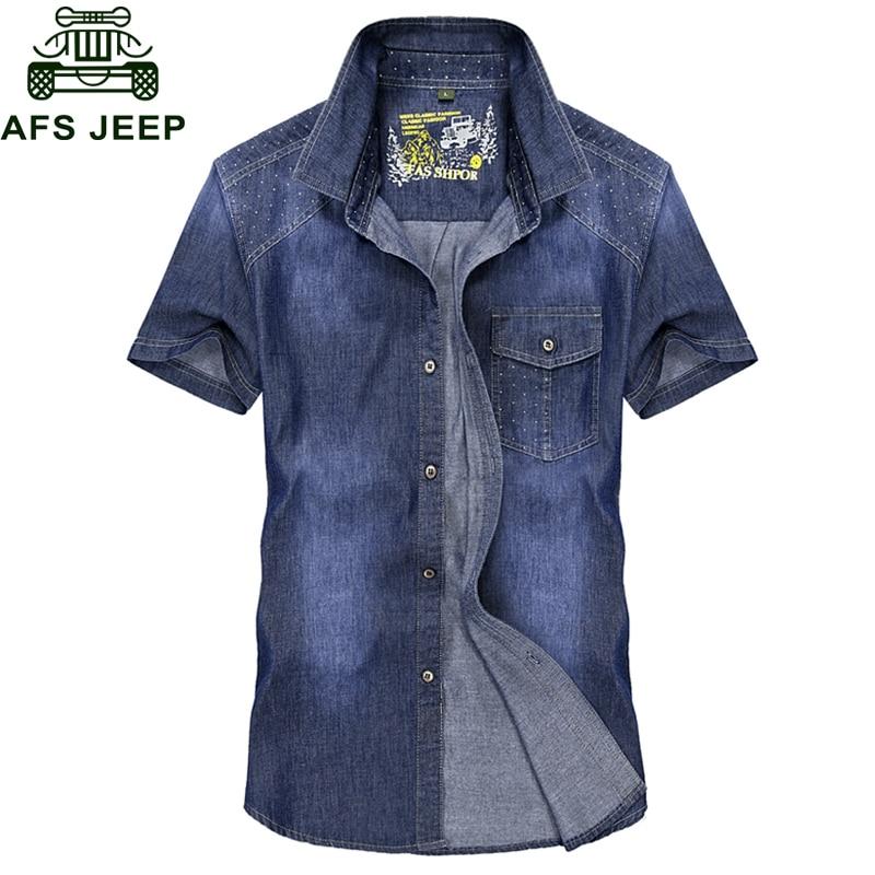 2018 Summer New Brand Denim Shirt Men Military Casual Short Sleeve