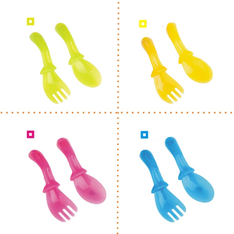 4 Pairs/set High Quality PP Baby Spoon Tableware Baby Feeding Spoon Fork Set Baby Learning Spoons