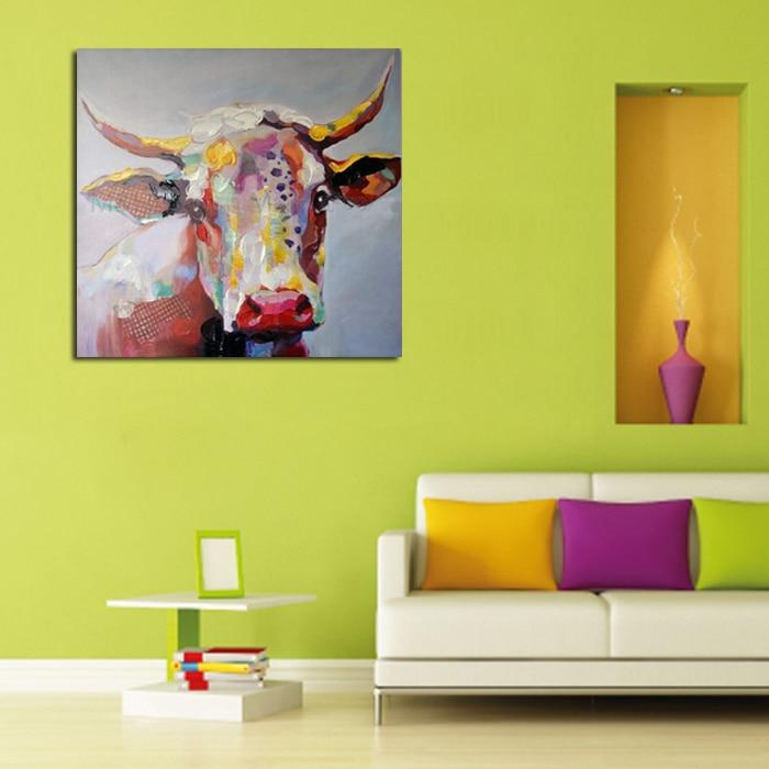 100% מצוירים בעבודת יד משלוח חינם ציורי שמן תמונה יפה פרה תמונה על בד ציור בעלי חיים לקישוט הבית