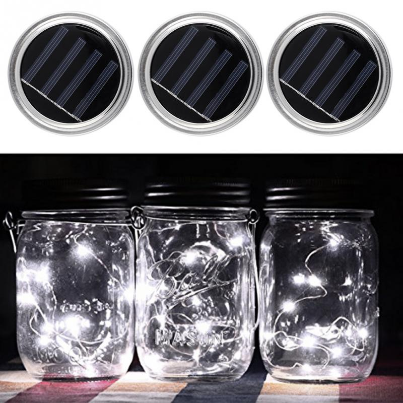 Solar Mason Jar Lantern Set Fairy Light Led For Glass Jars