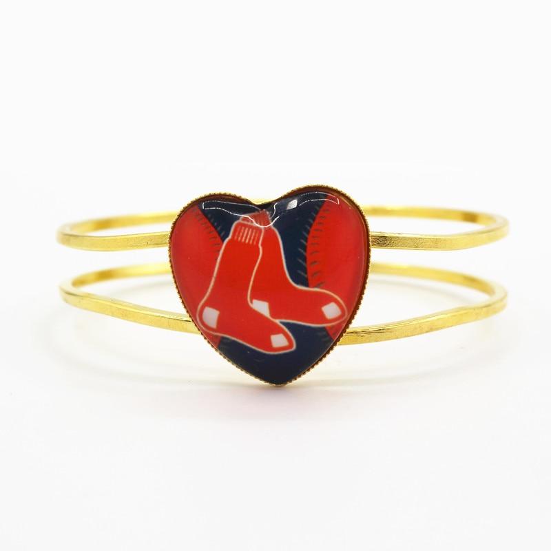 Fashion bracelets jewelry sports Boston Red Sox baseball sports team heart alloy bracelet 6pcs/lot for man woman sports fan