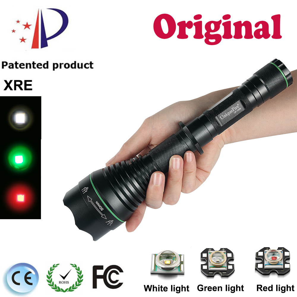 UniqueFire Cree XRE(Green/Red/White)Light LED Flashlight UF-1508 T50 Focusable Head Zooming Coyote Hunting Flashlight Torch Lamp new uniquefire uf 1407 xre black zoomable led flashlight green red white light 5 mode 38mm lens portable camping lamp