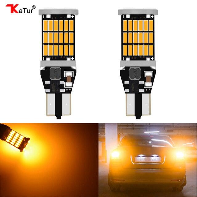 Katur 2x T15 W16W LED Reverse Light Bulbs 920 921 912 Canbus 4014 45SMD Orange LED Backup Parking Light Lamp Bulbs DC12V BA15S