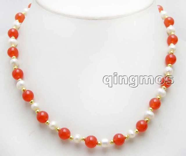 Women Gift word Love women Fashion Jewelry SALE 6-7mm White Natural freshwater Pearl & 8mm Round china red Jade 17'' Necklace -n