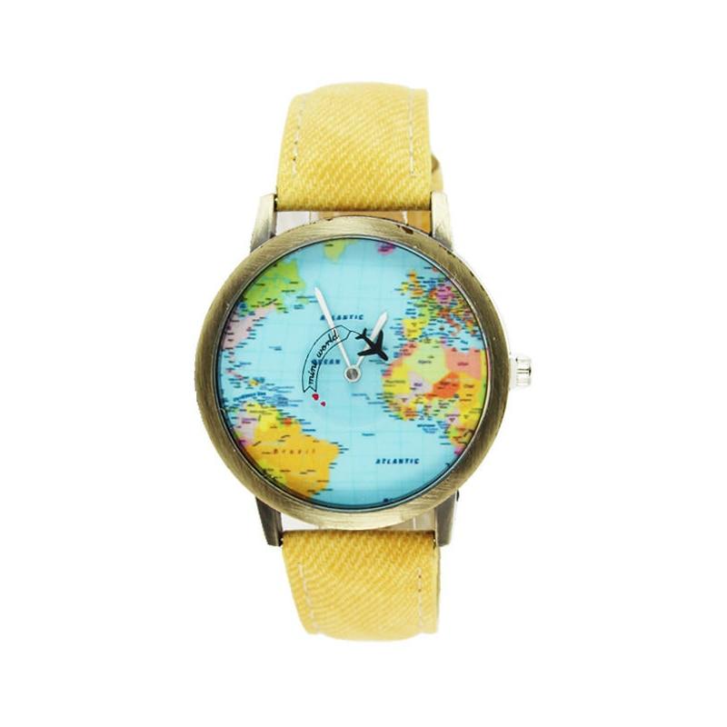 Plane World Map Pattern Travel Watches Denim Quartz Watch Cusual Dress Watch