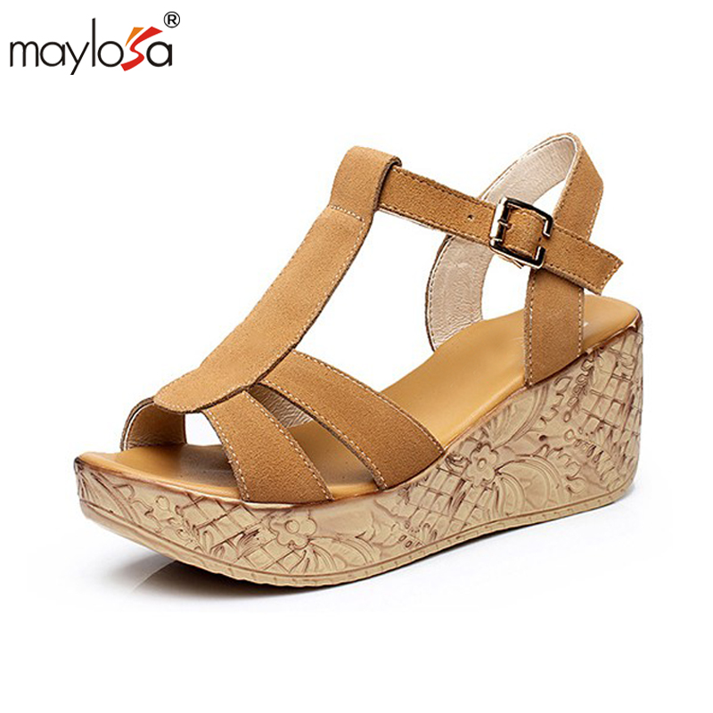 MAYLOSA Women Sandals Genuine Leather Platform Wedges Sandals Fashion High Heels Female Summer Shoes Size 34-41 woman fashion high heels sandals women genuine leather buckle summer shoes brand new wedges casual platform sandal gold silver