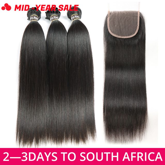 Black Pearl Straight Hair Bundles With Closure Non Remy Human Hair 3 Bundles With Closure Peruvian Hair Bundles With Closure