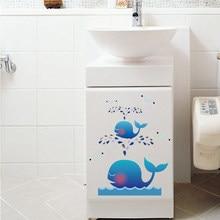 Dessin animé mignon baleine stickers muraux salon placard décor à la maison enfants chambre décalcomanie étanche amovible toilette autocollants décoration