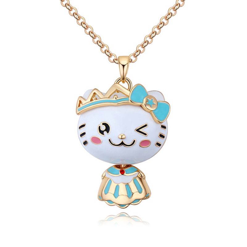 Cute Kitty Cat Pendant Long Sweater Chain Necklace Women Animal Design Garment Costume Accessories Jewelry Fashion Necklaces