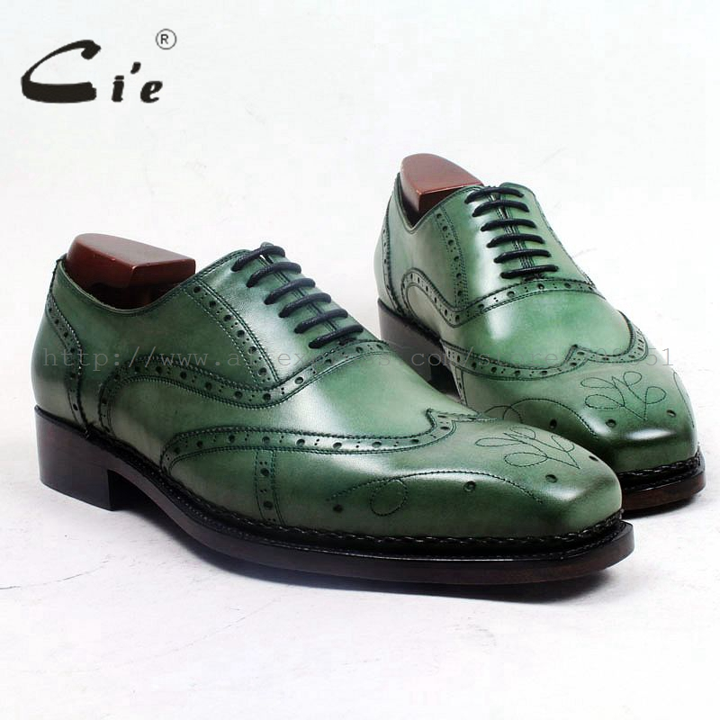 cie square toe full brogues medallion lace-up patina green 100%genuine calf leather breathable bespoke leather man shoe ox503 cie square toe semi brogues lace up oxfords patina purple 100