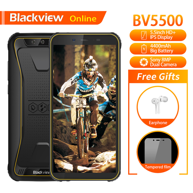"Blackview Original BV5500 5.5"" IP68 Waterproof Rugged Outdoor Smartphone 2GB+16GB Android 8.1 4400mAh Dual SIM 18:9 Mobile Phone"