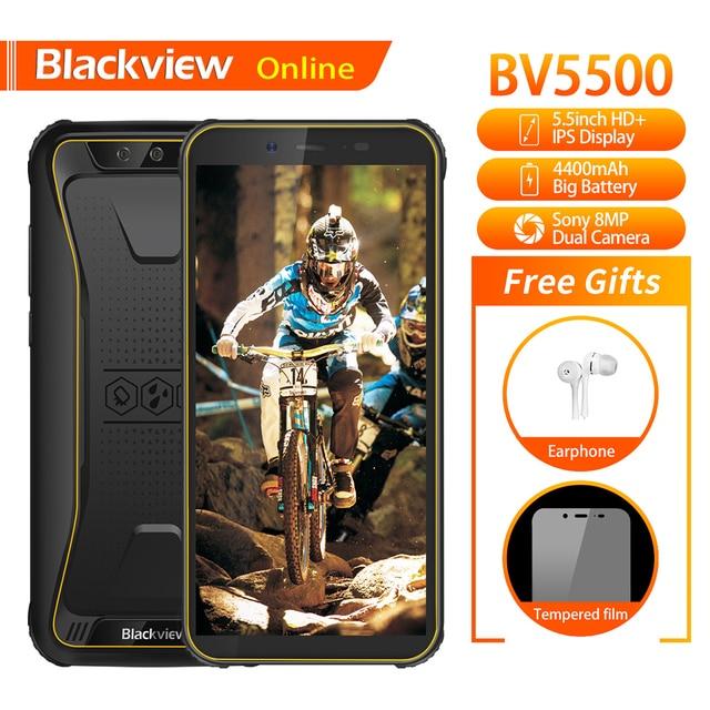 "Blackview Original BV5500 5.5"" IP68 Waterproof Rugged Outdoor Smartphone 2GB+16GB Android 8.1 4400mAh Dual SIM 18:9 Mobile Phone"
