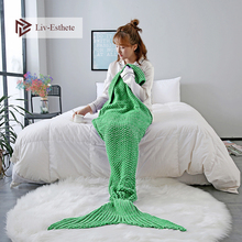 Liv-Esthete Green Mermaid Tail Blanket Throw Blanket Sofa Bed Sleeping Bag Wrap Knitted Blanket For Adult Kids Best Gift winter sleeping bag bed throw wrap mermaid blanket