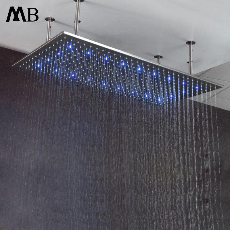Большой дождь светодио дный насадкой 60*80 см Температура воды Управление Ванная комната дождя полированная Насадки для душа с душем оружия ...