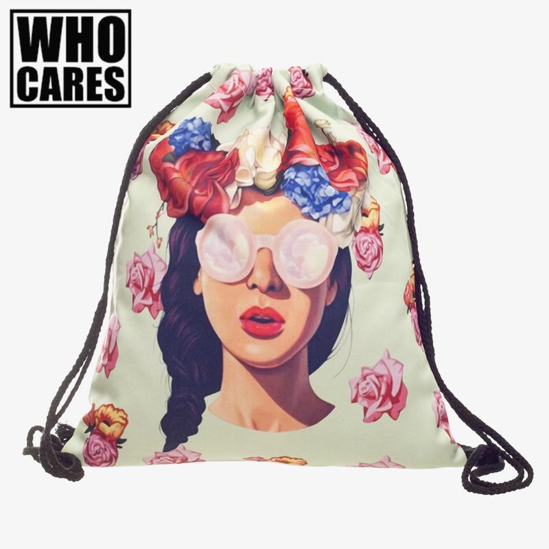 US style 3D Printing 2017 Fashion Escolar mini backpack women Harajuku school Drawstring Bag Travel Softback Mochila Backpacks