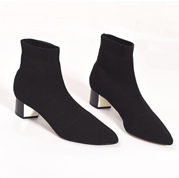Nova chegada da moda feminina tornozelo meias botas casuais altos topos de malha botas elásticas apontou toe sapatos senhora aa0529