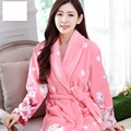 Female Bath Robe Coral Fleece Floral Nightgowns Spa Bathrobe Robe Homewear Women Long Sleeve Kimono Peignoir Womens Nightwear