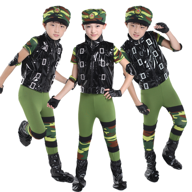 5d0622ca03eb 10pcs/lot Free Shipping Camouflage Dance Costume Kids Ballroom Performance  Clothes Children Boys Girls Military Training Uniform-in Ballroom from  Novelty ...