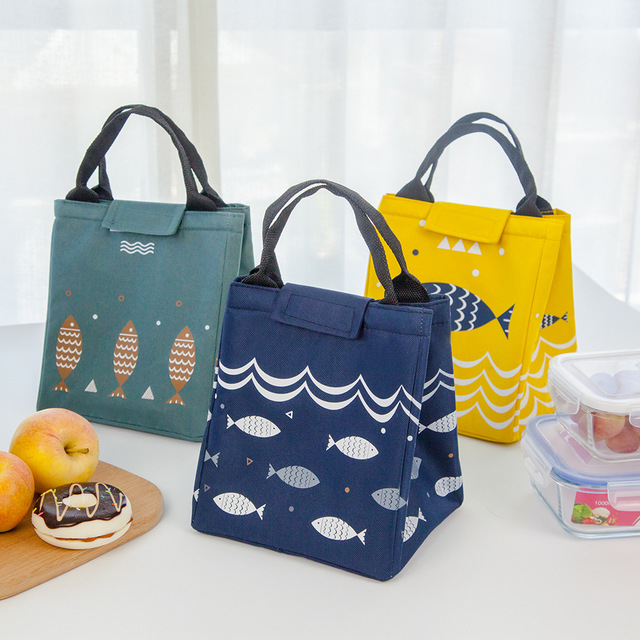 2019new  Functional Pattern Cooler Lunch Box Portable Insulated Canvas Lunch Bag Thermal Food Picnic Lunch Bags For Women Kids