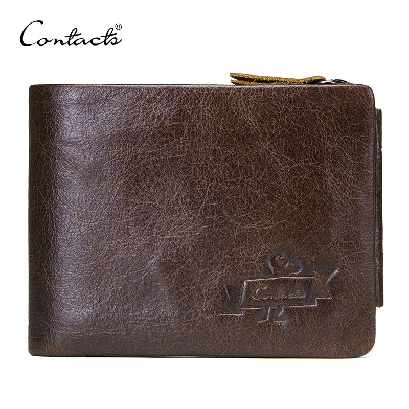 CONTACT'S Casual Style Genuine Leather Trifold Wallet For Zipper Hasp Men Clutch Wallets With Coin Pocket For Male Short Purse new design 100% leather genuine male wallets slim short men wallet with zipper coin purse pocket soft leather card holder wallet