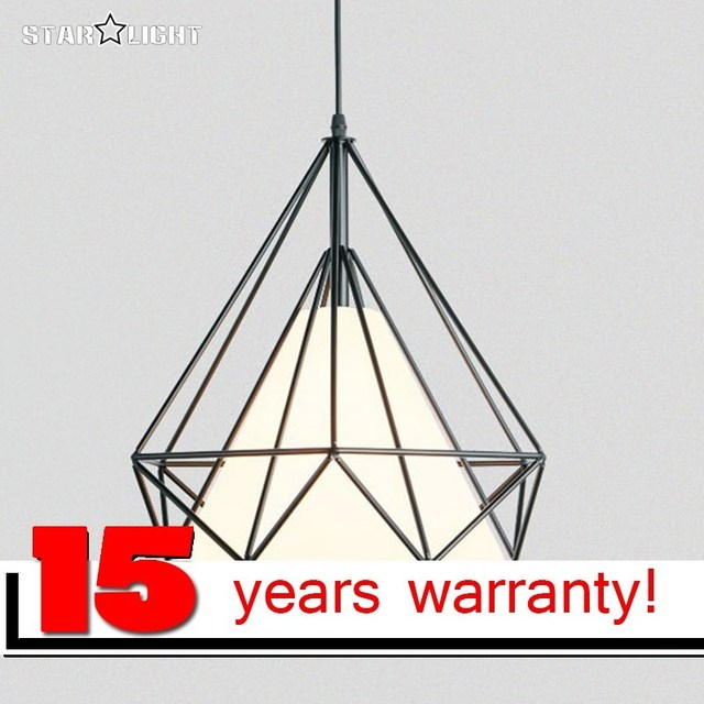 Black Iron Gemstone Lampshades Pendant Lights Hanging Retro Light Suspension Loft Pyramid Lamp Geometric Cage