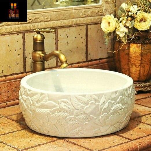 China Artistic Porcelain Handmade Embossed Ceramic Lavabo Bathroom Vessel  Sinks